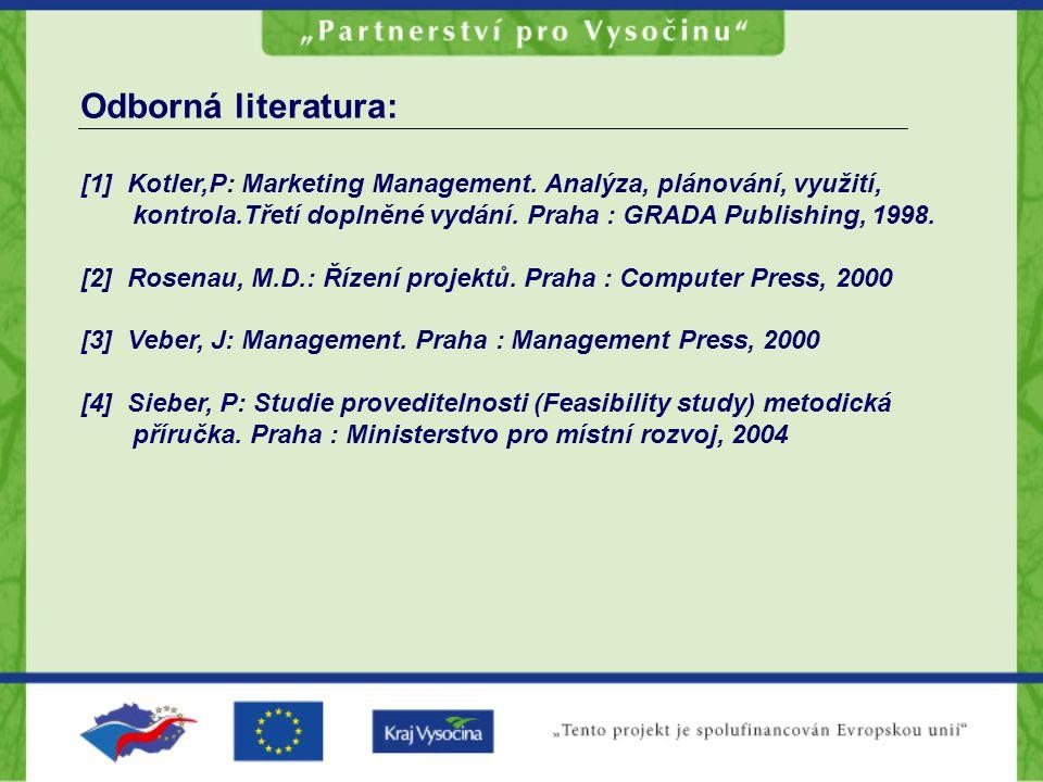 Odborná literatura: [1] Kotler,P: Marketing Management. Analýza, plánování, využití, kontrola.Třetí doplněné vydání. Praha : GRADA Publishing, 1998.